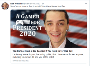 Me_irl: Ace Watkins @GamerPres2020 3h  You Cannot Have a Sex Scandal If You Have Never Had Sex  A GAMER  FOR  PRESIDENT  2020  You Cannot Have a Sex Scandal If You Have Never Had Sex  I solemnly swear to you, the voting public, that I have never fucked anyone  including your mom. I'll see you at the polls!  thehardtimes.net Me_irl