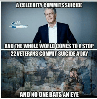 Memes, Free, and Suicide: ACELEBRITY COMMITS SUICIDE  THI  FREE  THOUGHT PROJECT  AND THE WHOLE WORLD COMES TOA STOP  22 VETERANS COMMIT SUICIDEADAY  AND NO ONE BATS AN EYE