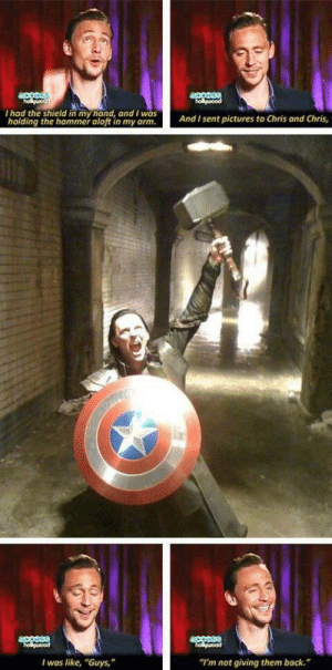 "One more reason Tom Hiddleston is awesome (x-post from r/MarvelStudios): acesss  holguood  ouood  I had the shield in my hand, and I was  holding the hammer aloft in my arm.  And I sent pictures to Chris and Chris,  access  holuood  holuood  ""I'm not giving them back.  I was like, ""Guys,"" One more reason Tom Hiddleston is awesome (x-post from r/MarvelStudios)"