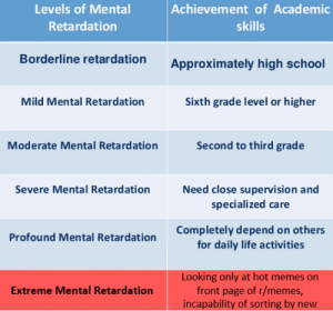 Life, Memes, and Reddit: Achievement of Academic  Levels of Mental  Retardation  skills  Borderline retardation  Approximately high school  Mild Mental Retardation  Sixth grade level or higher  Moderate Mental Retardation  Second to third grade  Severe Mental Retardation  Need close supervision and  specialized care  Completely depend on others  for daily life activities  Profound Mental Retardation  Looking only at hot memes on  front page of r/memes,  incapability of sorting by new  Extreme Mental Retardation levels of mental retardation