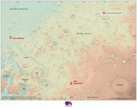 Memes, Terra, and 🤖: Acid a  a Pla nit tia  A Mars Pathfinder  Anesvalls  Margaritifor  Terra  produced by ordinance surve  partnership with br Peter Grindrod(eirkbeck  yin ftomNASAUPMGSP placenames from USGSandiwu bee larger map  250  Arabia Terra.  opportunity  500km  Terra Meridiani  Ordinance Survey  200 E  Previous mission landing sites  30 N  Schiaparelli  Crown copyrightandlordatabaseright 2016 OS This is the first map of Mars designed for regular humans. The world's oldest mapping agency has created a digital recreation of Mars that can be used for future space missions. The best part is that average humans can actually understand this new map. The recreation, which was created using NASA open data, covers a 3,672 kilometers by 2,721 kilometer section of Mars. Now we know how to navigate our way around the red planet, which is only 48 million miles away. Thanks to our friends @tech for the post!