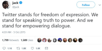 "Gif, Squad, and Tumblr: ack  @jack  Follow  Twitter stands for freedom of expression. We  stand for speaking truth to power. And we  stand for empowering dialogue.  4:59 AM- 5 Oct 2015  1,799 Retweets 1,589 Likes  1.1K  1.8K  1.6K <p><a href=""http://cisnowflake.tumblr.com/post/173102793166/thinksquad-does-he-think-anyone-is-buying"" class=""tumblr_blog"">cisnowflake</a>:</p>  <blockquote><p><a href=""http://think-squad.com/post/173102691091"" class=""tumblr_blog"">thinksquad</a>:</p>  <blockquote><figure class=""tmblr-full"" data-orig-height=""206"" data-orig-width=""400""><img src=""https://78.media.tumblr.com/a9790c8f0ea9698d64fdfcc89a643110/tumblr_inline_p7f7h2uSCi1qifyvs_540.gif"" data-orig-height=""206"" data-orig-width=""400""/></figure></blockquote>  <p>Does he think <b>ANYONE</b> is buying that line of bullshit at all?</p></blockquote>"