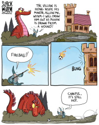 "Omg, Tumblr, and Blog: ACK  THE VILLAIN IS  HIDING INSIDE HIS TE-  MANOR.ALLOW ME, P  WYRM-I WILL DRAW  HIM OUT AS PolSON  IS DRAWN FROM  JOsHUAWRIGHTNET  A WoUNO!  FIREBAIL!  CAREFUL,  IT'S STILL  HOT  I 1 <p><a href=""https://omg-images.tumblr.com/post/163795009042/3rd-level-evocation-spell"" class=""tumblr_blog"">omg-images</a>:</p>  <blockquote><p>3rd Level Evocation Spell</p></blockquote>"