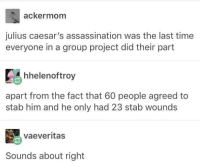 Assassination, Time, and Project: ackermom  julius caesar's assassination was the last time  everyone in a group project did their part  hhelenoftroy  apart from the fact that 60 people agreed to  stab him and he only had 23 stab wounds  vaeveritas  Sounds about right Eh, sounds about right.