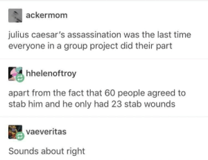 Assassination, Love, and Time: ackermom  julius caesar's assassination was the last time  everyone in a group project did their part  hhelenoftroy  apart from the fact that 60 people agreed to  stab him and he only had 23 stab wounds  vaeveritas  Sounds about right Gotta love group projects