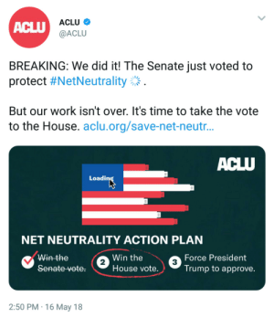 Tumblr, Work, and Blog: ACLU  ACLU  @ACLU  BREAKING: We did it! The Senate just voted to  protect #NetNeutrality:  But our work isn't over. It's time to take the vote  to the House. aclu.org/save-net-neutr  Loadi  NET NEUTRALITY ACTION PLAN  Win the  Win the  House vote.  Force President  Trump to approve.  2  3  2:50 PM 16 May 18 joanwaatson:In a 52-47 decision, the Senate has voted to save net neutrality.