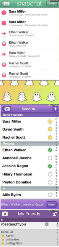 Friends, Snapchat, and Best: acoblholle  O snapchat  Sara Miller  3 minutes ago Press and hold to view  Sara Miller  4 minutes ago Press and hold to view  Ethan Walker  18 minutes ago- Opened  Ethan Walke  Today at 8:21AM  Sara Miller  Today at 8:02AM-Screenshot  Rachel Scott  Yesterday at 11.43PM  Rachel Scott  Yesterday at 11:26PM   acoblholle  Send to...  Best Friends  Sara Miller  David Smith  Rachel Scott  Recent  Ethan Walker  Annabell Jacobs  Jessica Kagan  Hilary Thompson  Peyton Donahue  Allie Byers  Ethan Walker, Jessica Kagan  Send   @jacoblholle  O My Friends  rosetaughtyou  Score: 44  ★ Xavier  ★ untiyeable  ★ prettygirltam 'Only 90's babies will remember' https://t.co/FYAG3Ddhpu