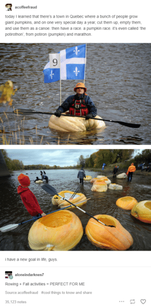 Row, Canada: acoffeefraud  today I learned that there's a town in Quebec where a bunch of people grow  giant pumpkins, and on one very special day a year, cut them up, empty them  and use them as a canoe. then have a race. a pumpkin race. it's even called 'the  potirothon, from potiron (pumpkin) and marathon.  9  i have a new goal in life, guys  neindarknes7  Rowing + Fall activities PERFECT FOR ME  Source:acoffeefraud #cool things to know and share  35,123 notes Row, Canada