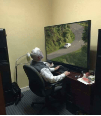 Fucking, Tumblr, and Blog: acoolguy: bunker-one:  picsthatmakeyougohmm:  hmmm  this is actual murder this man will fucking die   the car isn't real. it's simply a moving image on an electronic screen. the man is safe from vehicles