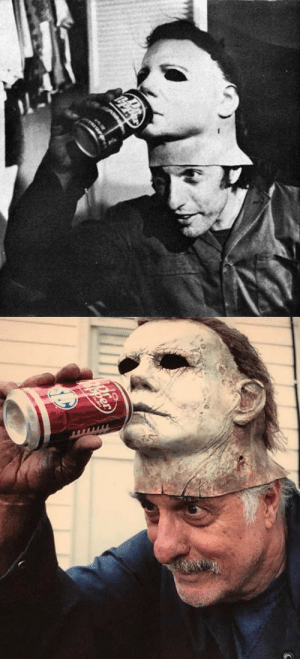 acoolguy: dat-soldier: Behind the scenes pictures of Nick Castle (Michael Myers) enjoying a Dr Pepper on the set of Halloween 1978 and 2018. this spooky fella is just having a classic gooferoni and cheese over here : acoolguy: dat-soldier: Behind the scenes pictures of Nick Castle (Michael Myers) enjoying a Dr Pepper on the set of Halloween 1978 and 2018. this spooky fella is just having a classic gooferoni and cheese over here