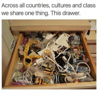 Never, Class, and One: Across all countries, cultures and class  we share one thing. This drawer. The horrid junk drawer where anything that goes in never comes out!
