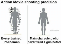 Memes, Bing, and 🤖: Action Movie shooting precision  @Bing posts  Every trained  Main character, who  Policeman  never fired a gun before Action movie rvcjinsta