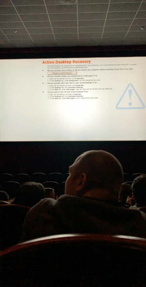 My friend went to see Star Wars last night: Active Desktop Recovery  Merosoft windows has epererced an unepecad emr As a precaution, your Acte Desitp han been tumed off Torestare  the Acte Desip e the blowng roublehootng tps  Dld your browser stop worting or did you restart your computr without shuttng it down first , dick  Patore my Ad Desitep  Dd you recenty change your background to a wweb page? f sac  2. Righecid the des and hen cid Properties  2. On he Desktp te under Background cld te badiground you want  Did you recetly add a new item to your Active Desktopf soc  1. Rightcid te dest and ten da Properties  2. On the Desitop se cidk Cuustomice Desktp  2 On the web ta under web pages cear the chedk bor fr te em tat was adednt  Do you want to turn off your Active Desitop? f sac  1 Rigecid the desitp and seect Properties  2 On he Desktop co Custamice Desktop  3 On the Web under Web pages ciot cer al te ched boes My friend went to see Star Wars last night