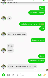 Bears Eat Beets: Active  now  Yeah  Because it's a plant  Ye  And all plants are green  Fact  Umm what about beets  Bears eat beets  Bears  Beets  Beets  Battlestar Galactica  IDENTITY THEFT IS NOT A JOKE JIM