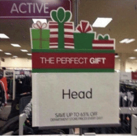 Head, Stone, and Department: ACTIVE  THE PERFECT GIFT  Head  SAVE UP TO 65% OF  DEPARTMENT STONE PRICES EVERY AY