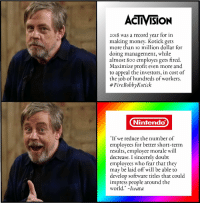 "Money, Nintendo, and Record: ACTIVISION  2018 was a record year for in  making money. Kotick gets  more than io million dollar for  doing management, while  almost 800 employes gets fired.  Maximize profit even more and  to appeal the investors, in cost of  the job of hundreds of workers.  # FireBobbyKotick  Nintendo  ""If we reduce the number of  employees for better short-term  results, employee morale will  decrease. I sincerely doubt  employees who fear that they  may be laid off will be able to  develop software titles that could  impress people around the  world."" -Iwata Activision vs Nintendo"