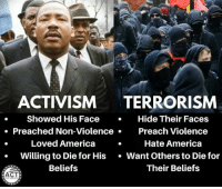 (GC) MLK jr was certainly on the left, but he did civil disobedience the right way: ACTIVISM TERRORISM  . Showed His FaceHide Their Faces  o Preached Non-Violence  Preach Violence  Loved America  Hate America  Willing to Die for His Want Others to Die for  Beliefs  Their Beliefs  ACT (GC) MLK jr was certainly on the left, but he did civil disobedience the right way