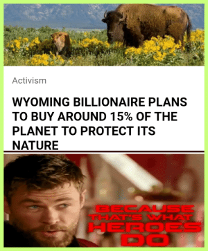 Captain Planet: upping the total protected area of the planet to 30%: Activism  WYOMING BILLIONAIRE PLANS  TO BUY AROUND 15% OF THE  PLANET TO PROTECT ITS  NATURE  BECAL SE  THAT'S WHAT  HEROES  DO Captain Planet: upping the total protected area of the planet to 30%