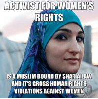"""Memes, Hypocrite, and Arab: ACTIVIST FOR WOMENS  RIGHTS  IS A MUSLIM BOUND BY SHARIA LAW  AND IT'S GROSS HUMAN RIGHTS  VIOLATIONS AGAINST WOMEN  ATC You've probably already heard that Linda Sarsour,  the executive director of the Arab American Association of New York, is one of the  organizers (agitators) of  today's Women's March in D.C. You may have heard that Sarsour was recently spotted at a large Chicago Muslim conference, and it's there where she met and had her photo taken with a board member of """"American Muslims for Palestine,"""" who also happens to be a former member of the terrorist group, Hamas.  Sarsour is a hypocrite claiming to support women's rights while orchestrating Trump protests, but doesn't know a gross injustice against women when one stands next to her and smiles.  There certainly appears to be a conflict of interest to me.   What do you think?  - Tom Retterbush"""