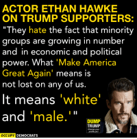"From Occupy Democrats: ACTOR ETHAN HAWKE  ON TRUMP SUPPORTERS:  ""They hate the fact that minority  groups are growing in number  and in economic and political  power. What  Make America  Great Again  means is  not lost on any of us  It means  white  and  male  I II  DUMP  TRUMP  Change your  profile pic!  OCCUPY DEMOCRATS From Occupy Democrats"