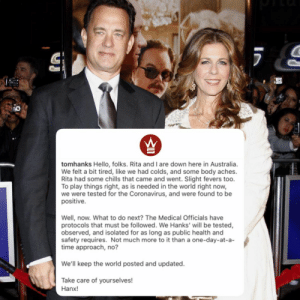 Actor #TomHanks announces that he and his wife #RitaWilson have both tested positive for the #Coronavirus while in #Australia. We wish them well and a speedy recovery! 🙏💯 @tomhanks https://t.co/648idU1PWW: Actor #TomHanks announces that he and his wife #RitaWilson have both tested positive for the #Coronavirus while in #Australia. We wish them well and a speedy recovery! 🙏💯 @tomhanks https://t.co/648idU1PWW