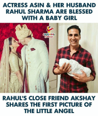 Blessed, Angel, and Girl: ACTRESS ASIN & HER HUSBAND  RAHUL SHARMA ARE BLESSED  WITH A BABY GIRL  LAUGHING  Colowrs  RAHUL'S CLOSE FRIEND AKSHAY  SHARES THE FIRST PICTURE OF  THE LITTLE ANGEL #Asin #RahulSharma #AkshayKumar