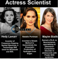 Memes, 🤖, and Mayim Bialik: Actress Scientist  COTE C i  Hedy Lamarr  Natalie Portman  Mayim Bialik  Earned a Ph.D. in  Invented a Simple  Inventor of  Neuroscience,  Method to  Frequency Hopping  specializing in  Spread Spectrum, a  Demonstrate the  Obsessive-  Enzymatic  Technology Still  Compulsive  Production of  Used for Bluetooth  Disorder in  Hydrogen from  and Wifi.  adolescents with  Sugar.  Prader-Willi  syndrome. ———————————————————— love cute follow followme smile picoftheday instagood instadaily amazing igers bestoftheday instamood life health betterliving betterlife healthy strength betteryou strong potential advice profound faith inspiration fitness SBHM ————————————————————