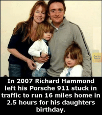 Richard Meme: acts.  Book  In 2007 Richard Hammond  left his Porsche 911 stuck in  traffic to run 16 miles home in  2.5 hours for his daughters  birthday.