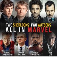 Doctor, Martin, and Memes: ACTS  I ECINFACTS  TWO SHERLOCKS TWO WATSONS  ALL IN MARVEL  EVERE  DoSS  DOCTOR STRANGE  BENEDICT  CUMBERBATCH  MAR-VELL  JUDE  LAW  RON MAN  MARTIN  FREEMAN  ROBERT  DOWNEY JR (Andrew Gifford)