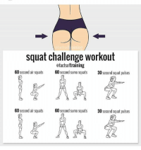 💯: acts illaining  squat challenge workout  ofactsoftraining  60  second air squats  60  second sumo squats  30 second squat pulses  60  second air squats  60  second sumo squats 30 second squat pulses 💯