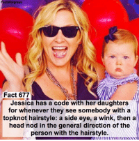 Fact 677😱 Jessica has a code with her daughters for whenever they see somebody with a topknot hairstyle: a side eye, a wink, then a head nod in the general direction of the person with the hairstyle. — factsforgreys_jessica greys greysanatomy jessicacapshaw jessicacapshawgavigan jcap jcg arizonarobbins ariliza calzona topknot evegavigan eveaugusta eveaugustagavigan eag shondaland abc ga tgit like facts like4like likeforlike dancemoms: actsforgreys  Fact 677  Jessica has a code with her daughters  for whenever they see somebody with a  topknot hairstyle: a side eye, a wink, then a  head nod in the general direction of the  person with the hairstyle. Fact 677😱 Jessica has a code with her daughters for whenever they see somebody with a topknot hairstyle: a side eye, a wink, then a head nod in the general direction of the person with the hairstyle. — factsforgreys_jessica greys greysanatomy jessicacapshaw jessicacapshawgavigan jcap jcg arizonarobbins ariliza calzona topknot evegavigan eveaugusta eveaugustagavigan eag shondaland abc ga tgit like facts like4like likeforlike dancemoms