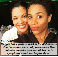 """Abc, Facts, and Memes: actsforgreys  Fact 886  Maggie has a genetic marker for Alzheimer's.  She """"does a crossword puzzle every five  minutes to make sure her Alzheimers  symptoms aren't starting to show"""". Fact 886😱 Maggie has a genetic marker for Alzheimer's. She """"does a crossword puzzle every five minutes to make sure her Alzheimer's symptoms aren't starting to show"""". — factsforgreys_kelly greys greysanatomy maggiepierce kellymccreary alzheimers shondaland abc ga tgit like facts likeforlike like4like dancemoms"""