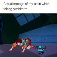 Accurate 😂: Actual footage of my brain while  taking a midterm  MY  BRAIN  USEFUL  INFO Accurate 😂