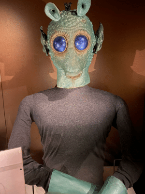Actual Greedo mask and hands used in the filming of the infamous scene from Star Wars. Shot at the Museum of Pop Culture in Seattle. #GreedoShotFirst: Actual Greedo mask and hands used in the filming of the infamous scene from Star Wars. Shot at the Museum of Pop Culture in Seattle. #GreedoShotFirst