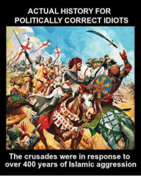 Memes, History, and 🤖: ACTUAL HISTORY FOR  POLITICALLY CORRECT IDIOTS  The crusades were in response to  over 400 years of Islamic aggression (MB)