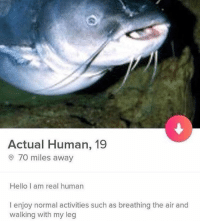 Hello, Human, and Air: Actual Human, 19  70 miles away  Hello I am real human  I enjoy normal activities such as breathing the air and  walking with my leg