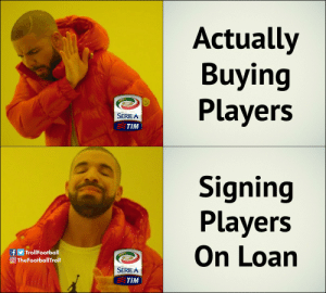 Transfer window in Serie A https://t.co/N7oGKdetrN: Actually  Buying  Players  SERIE A  TIM  Signing  Players  On Loan  f TrollFootball  O TheFootballTroll  012-2013  SERIEA  TIM Transfer window in Serie A https://t.co/N7oGKdetrN