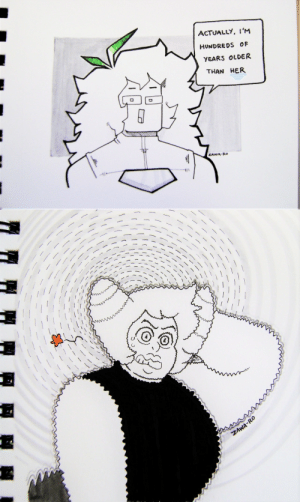 superiordutchsauce:  Inktober 2019 days 23 and 24.Bonus: Day 24 redraw.: ACTUALLY, I'M  HUNDREDS OF  YEARS OLDER  THAN HER  ZAWA-Ro   ZAWA-RO superiordutchsauce:  Inktober 2019 days 23 and 24.Bonus: Day 24 redraw.