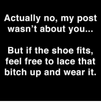 if the shoe fits: Actually no, my post  wasn't about you...  But if the shoe fits  feel free to lace that  bitch up and wear it.