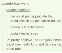 It probably is, yeah xD Clove Is My Four Leaf Clover - I Am Dauntless: acurefor brainwork  sbenedicted  can we all just appreciate that  peeta lives in a place called panem  panem is latin for bread  peeta lives in bread  I'm pretty positive The Hunger Games  is just one, really long and depressing  bread pun. It probably is, yeah xD Clove Is My Four Leaf Clover - I Am Dauntless