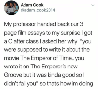 """sad: Adam Cook  @adam_cook2014  My professor handed back our 3  page film essays to my surprise l got  a C after class I asked her why """"you  were supposed to write it about the  movie The Emperor of Time.. you  wrote it on The Emperor's new  Groove but it was kinda good so  didn't fail you"""" so thats how im doing sad"""