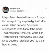 "In his defense, it's still a really great movie: Adam Cook  @adam_cook2014  My professor handed back our 3 page  film essays to my surprise l got a C after  class l asked her why ""you were  supposed to write it about the movie  The Emperor of Time.. you wrote it on  The Emperor's new Groove but it was  kinda good so l didn't fail you"" so thats  how im doing In his defense, it's still a really great movie"