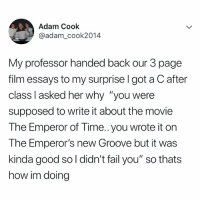 """OMG 😂😂😂: Adam Cook  @adam_cook2014  My professor handed back our 3 page  film essays to my surprise l got a C after  class I asked her why """"you were  supposed to write it about the movie  The Emperor of Time.. you wrote it on  The Emperor's new Groove but it was  kinda good so l didn't fail you"""" so thats  how im doing OMG 😂😂😂"""