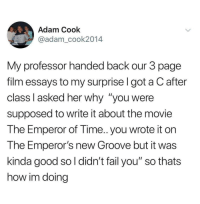 Best Where Do You See Yourself In  Years Memes  Didnt Memes  Emperors New Groove Fail And Funny Adam Cook Adamcook My  Professor Handed Essay On High School Dropouts also Example Of Essay Proposal  Essay My Family English