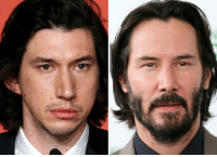 Adam Driver looks like an amateur artist tried to draw Keanu Reaves based solely off memory and failed.: Adam Driver looks like an amateur artist tried to draw Keanu Reaves based solely off memory and failed.