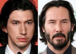 Adam Driver, Artist, and Memory: Adam Driver looks like an amateur artist tried to draw Keanu Reaves based solely off memory and failed.