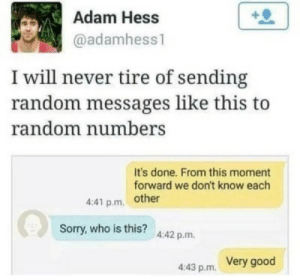 Sorry, Good, and Never: Adam Hess  @adamhess1  I will never tire of sending  random messages like this to  random numbers  It's done. From this moment  forward we don't know each  4:41 p.m other  Sorry,who is this? 4.42 p.m.  Very good  4:43 p.m.