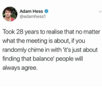 Hess, Adam, and Will: Adam Hess  @adamhess1  Took 28 years to realise that no matter  what the meeting is about, if you  randomly chime in with 'it's just about  finding that balance' people will  always agree.