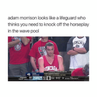 It's true: adam morrison looks like a lifeguard who  thinks you need to knock off the horseplay  in the wave pool  A GONZAGA FORWARD  ADAM  1,867 CAREER POINTS  MORRISON  13RD MOST IN SCHOOL HISTORY  GONZAGA 50  52 2ND 8:02 30  NATIONAL CHAMPIONSHIP It's true