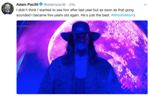 Fucking, Mood, and Soon...: Adam Pacitti  @adampacitti 24s  I didn't think I wanted to see him after last year but as soon as that gong  sounded I became five years old again. He's just the best. #WrestleMania  restleMania thompsonconnors:  a big fucking mood